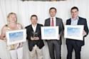 Les trois lauréats de la catégorie Développement Durable avec Didier Gambard (2e à droite), directeur des ventes du réseau de Toyota