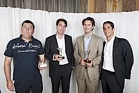 De gauche à droite: Erwan Créac'h (A l'aise Breizh), Geoffroy de Becdelièvre (PlanetVeo), Victor Augais et Nicolas Warter (dirigeants d'UrbanFootball)