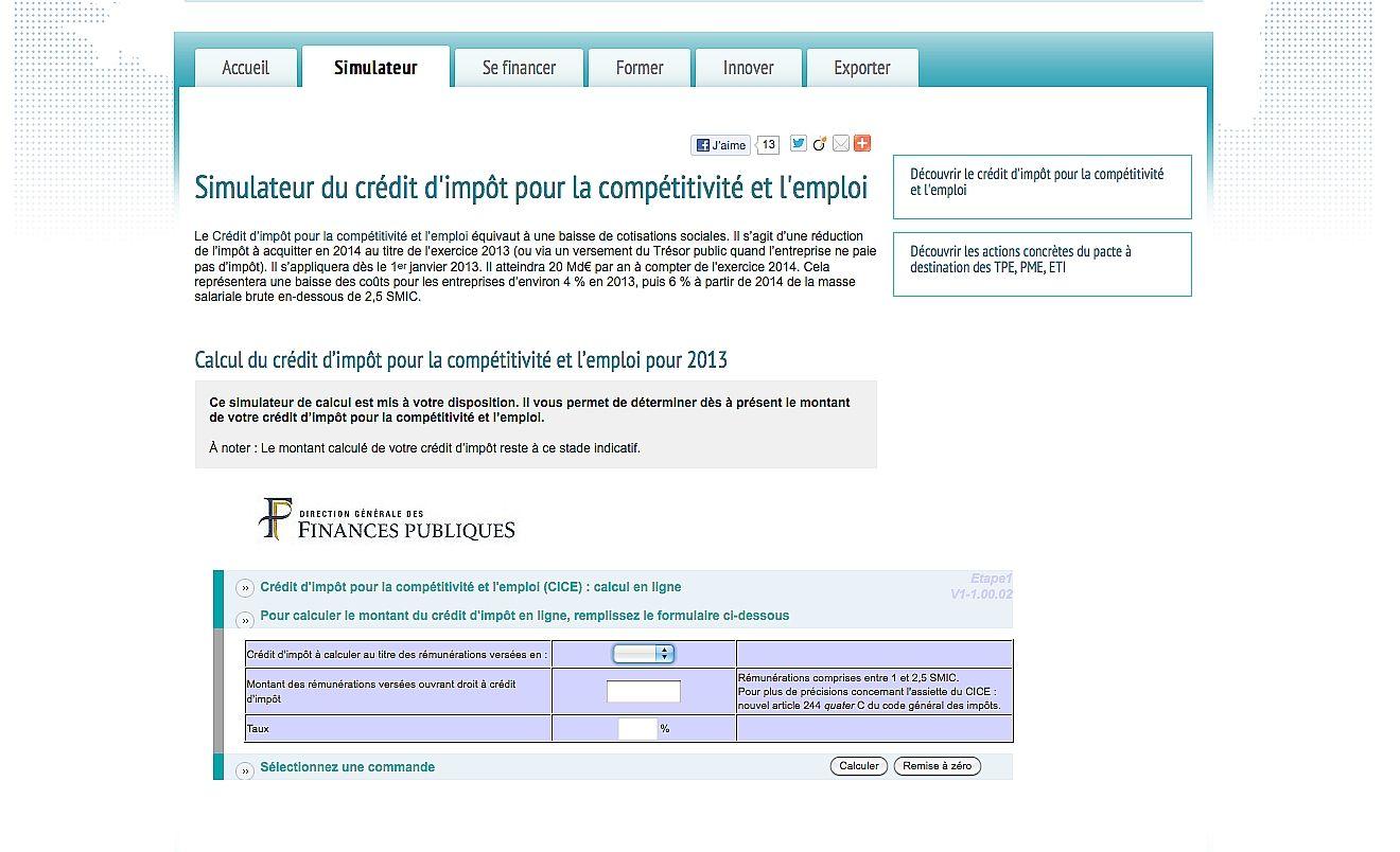 Un site pour calculer le montant de votre crédit d'impôt pour la compétitivité et l'emploi