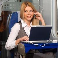 businesswoman in train