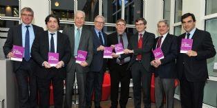 Les sept acteurs du réseau et son président Jean-Luc Scemama à droite