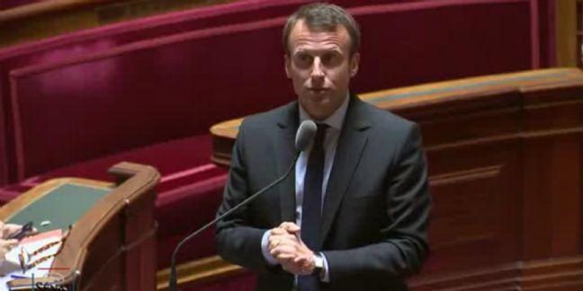 Emmanuel Macron, lors de son intervention au Sénat suite au scrutin, le 12 mai 2015.