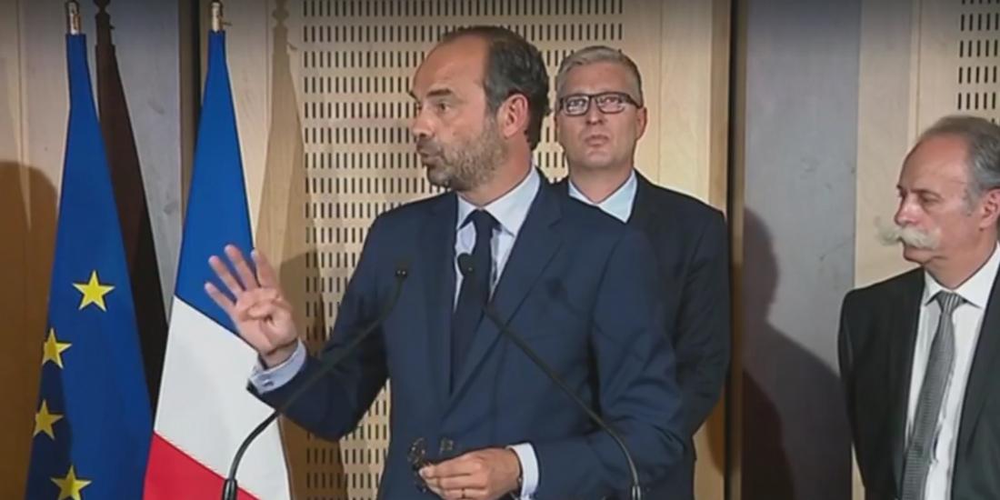 Photo : capture d'écran de l'allocution vidéo d'Édouard Philippe, à Dijon, mardi 5 septembre 2017