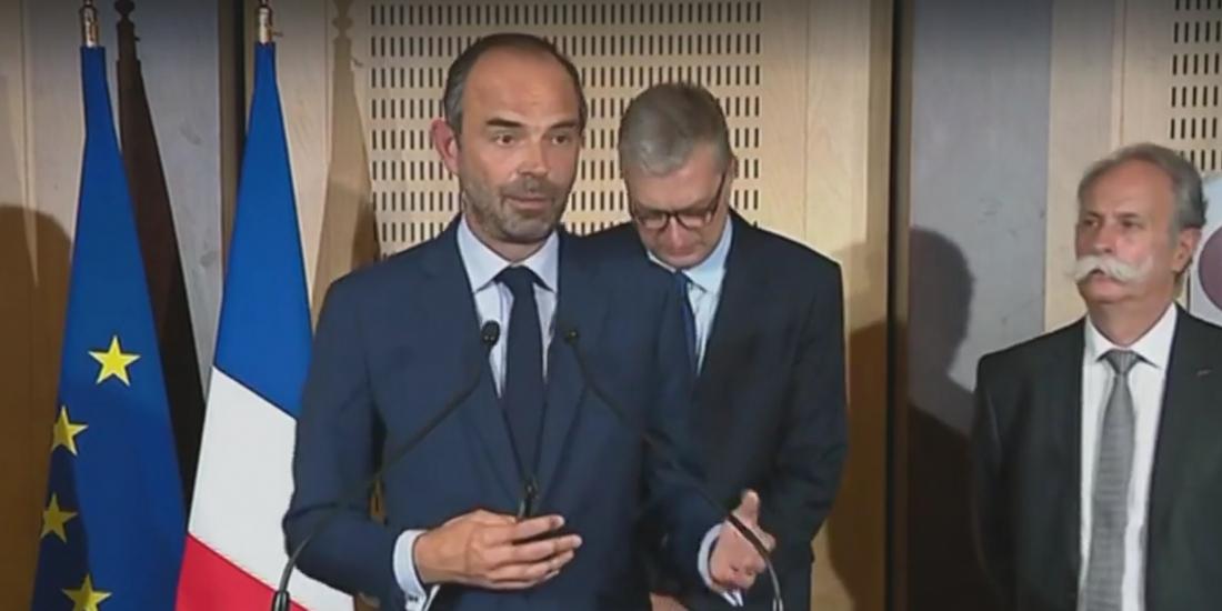 Photo : capture d'écran de l'allocution vidéo d'Edouard Philippe, à Dijon, mardi 5 septembre 2017