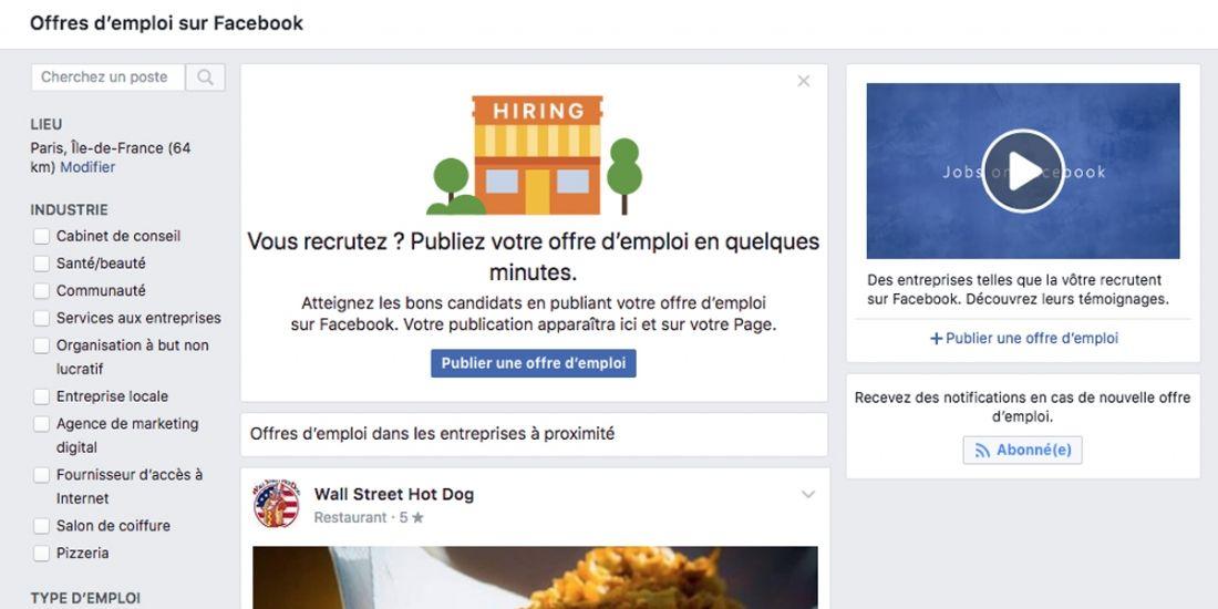 Facebook lance la fonctionnalité 'Offres d'emploi' en France