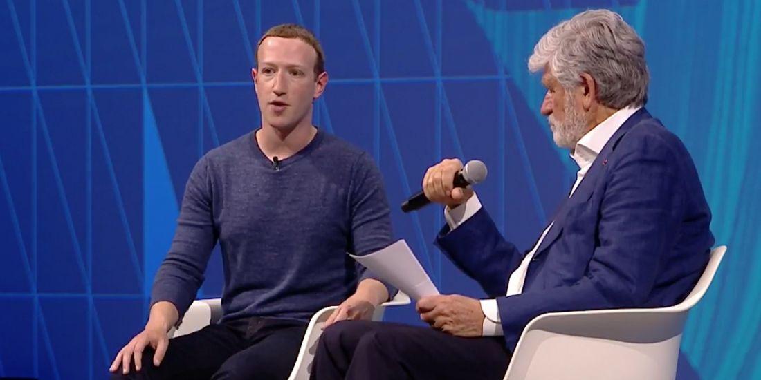 Mark Zuckerberg (à gauche), interrogé par Maurice Lévy à VivaTech, jeudi 28 mai 2018.
