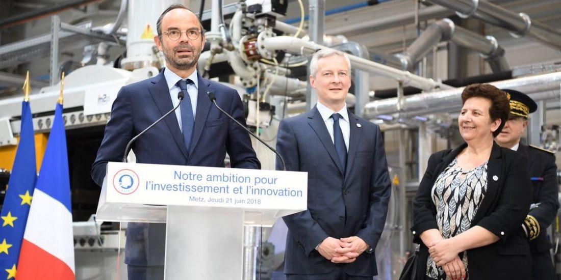 Le Premier ministre, Édouard Philippe à Metz jeudi 21 juin 2018, accompagné du ministre de l'Économie, Bruno Le Maire et de la ministre de la Recherche et de l'Enseignement supérieur, Frédérique Vidal.