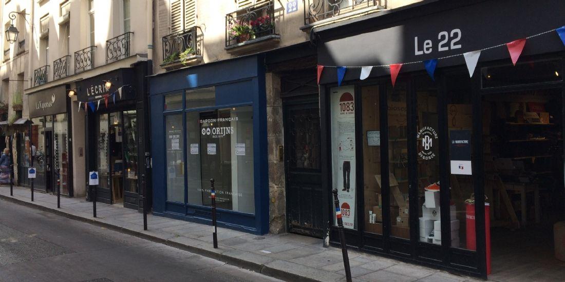 Des boutiques participant à La Rue du Made in France à Paris, le 10 juillet 2018.