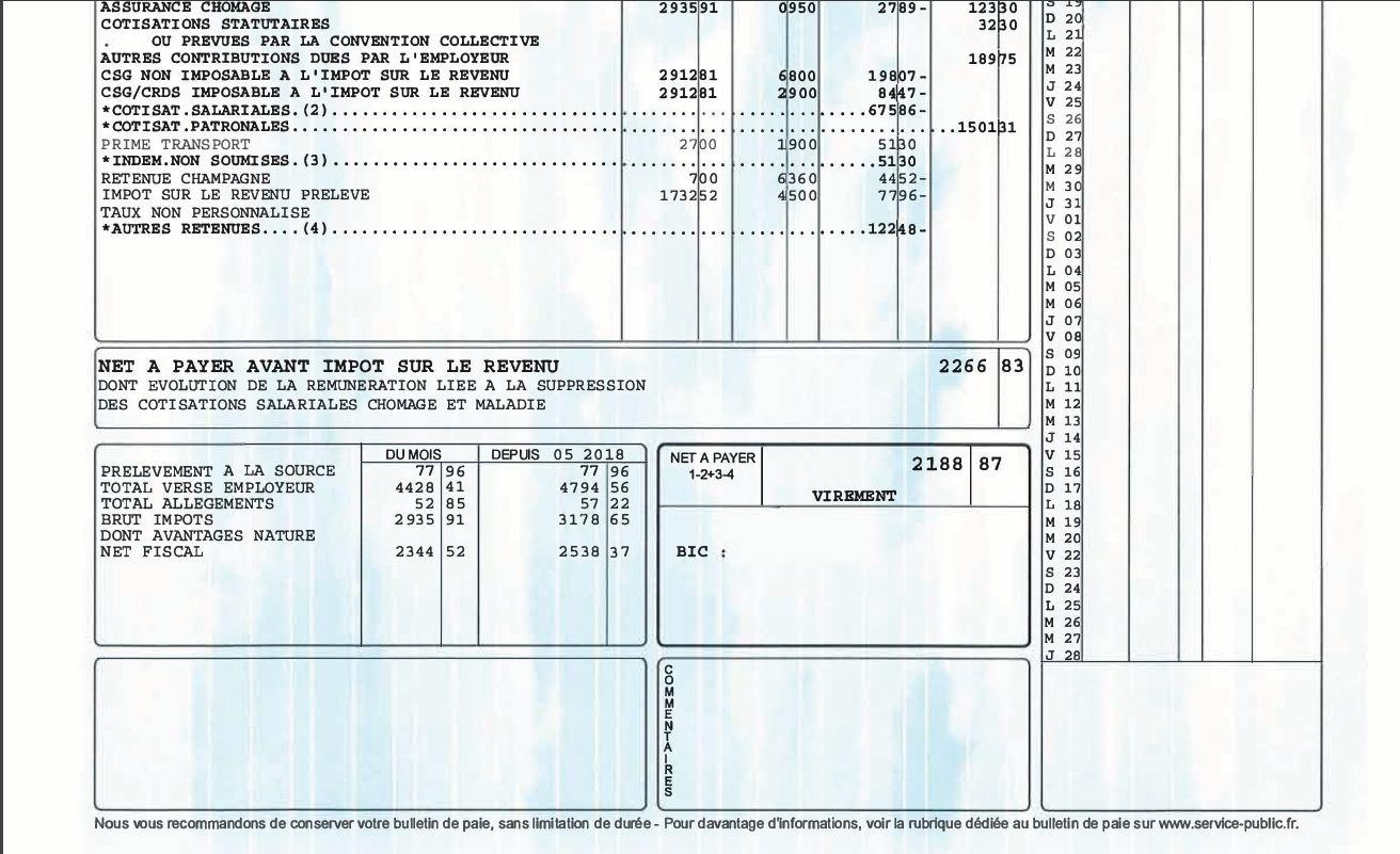 pr u00e9l u00e8vement  u00e0 la source   exemples de fiche de paie p u00e9dagogique